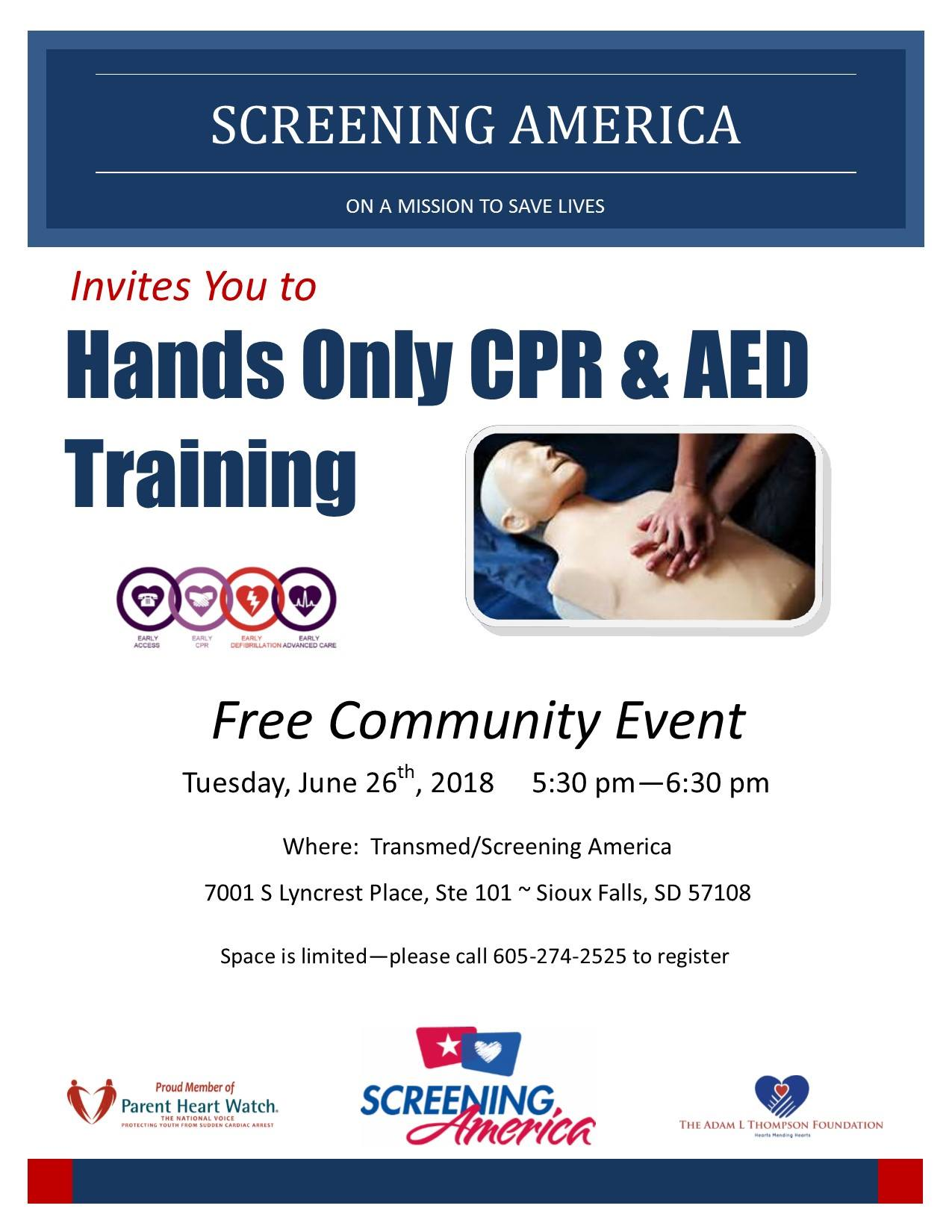 Free Cpr Aed Training Tuesday June 26th 530 Pm Screening America